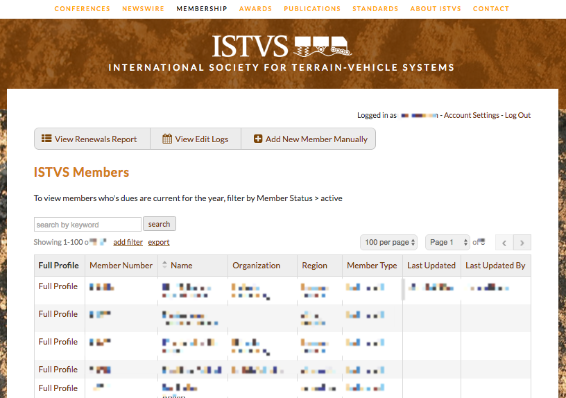 Opening screen for  ISTVS GS/DGS admin access to Member Directory  (click to enlarge)