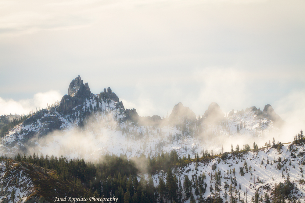 This view of Castle Crags was directly behind me when shooting Shasta and the fog.
