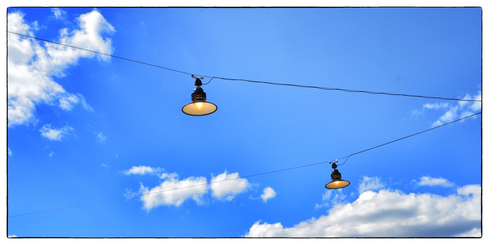 """""""Sky lights"""" above Pier 63 at Hudson River Park on August 15, 2013."""