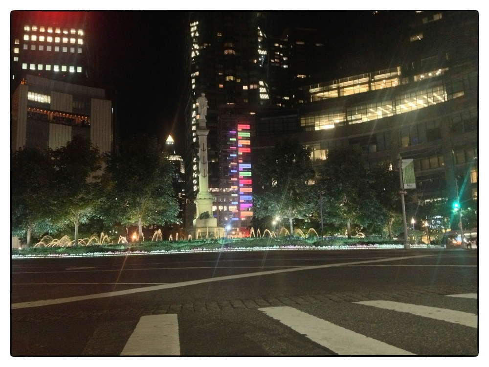 Columbus Circle, New York City, shot on August 14, 2013, at 10:15 p.m.