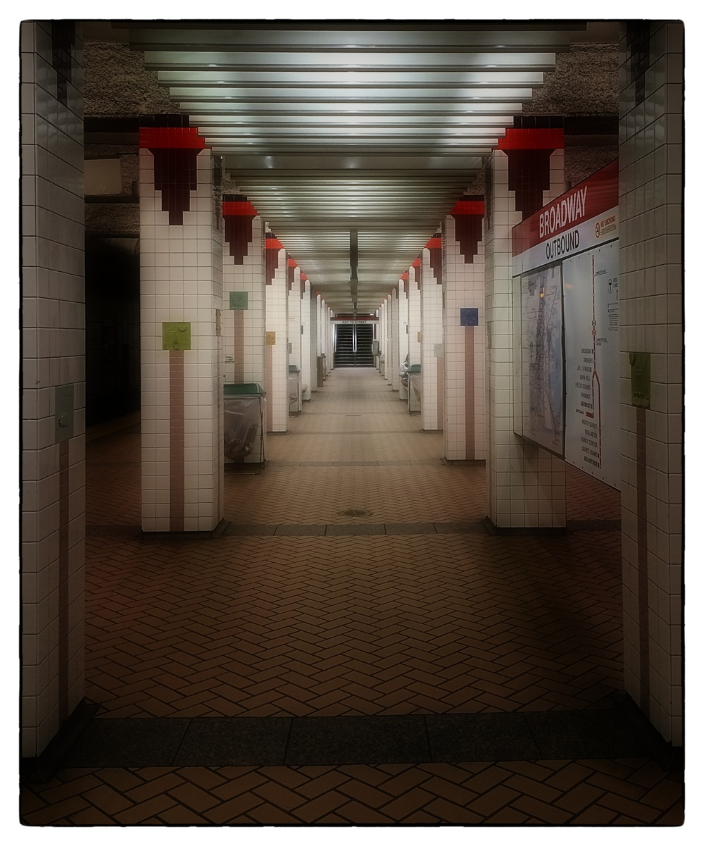Broadway T station on the MBTA's Red Line in South Boston, shot on November 19, 2013.