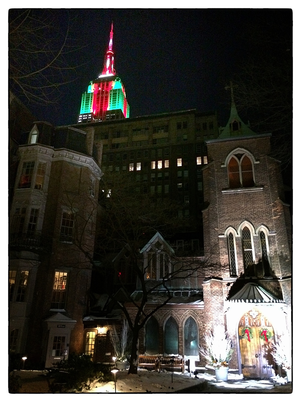 The  Empire State Building  rising above the  Church of the Transfiguration (Episcopal)  on East 29th Street, New York City, shot on January 4, 2014.