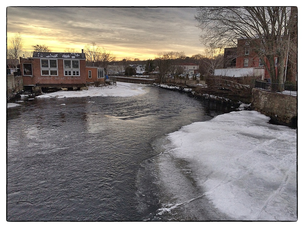 Ice along the Pawcatuck River in Westerly, R.I. The river is the boundary between the states of Rhode Island and Connecticut. Shot on January 31, 2014.