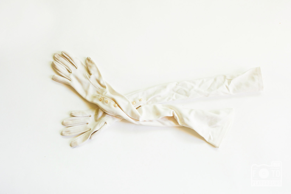 vintage white opera gloves
