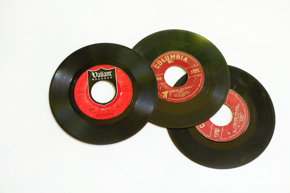set of 3 vintage 45 records