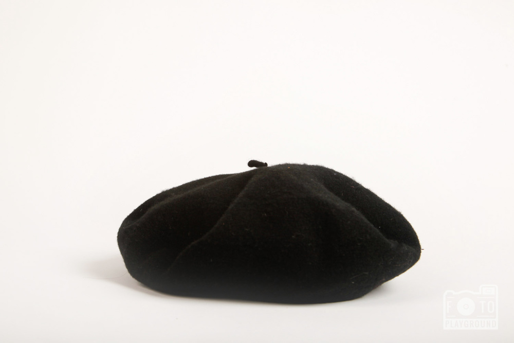 vintage black wool beret