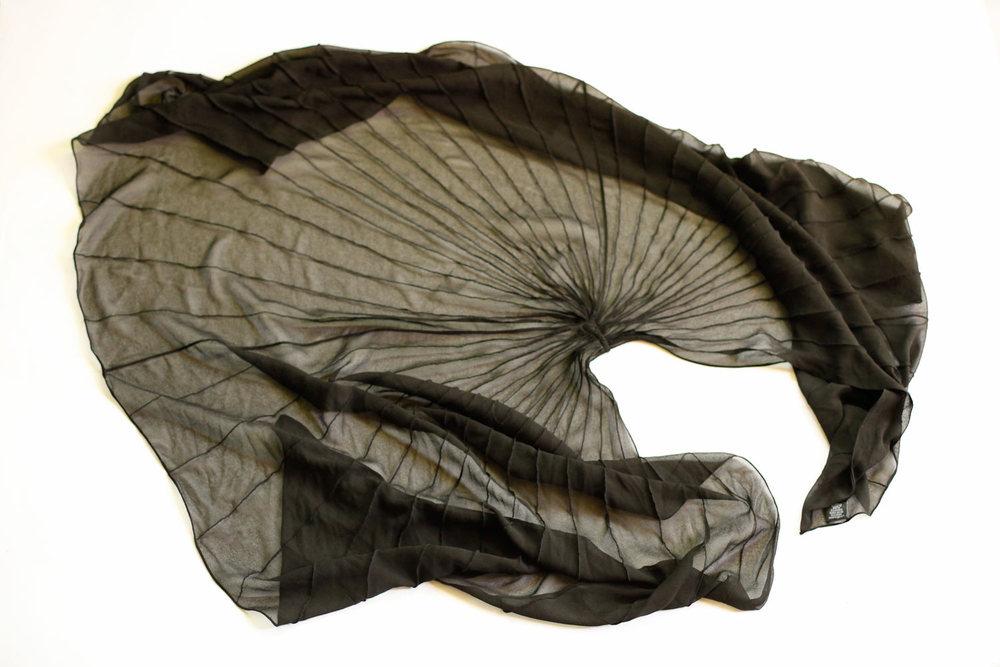 vintage black chiffon shawl