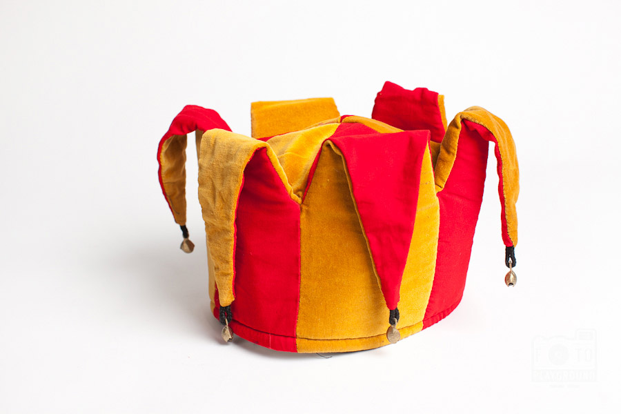 red and gold jester hat