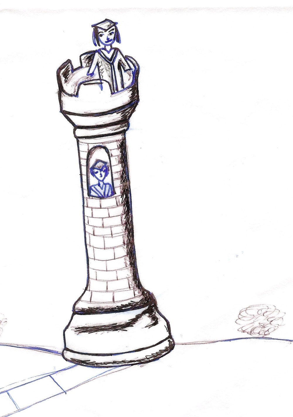 Image description: A drawing of a rook from a chess set as a tower, with a woman standing at the top, and another person visible through a window. Both are dressed in graduation robes and hats.