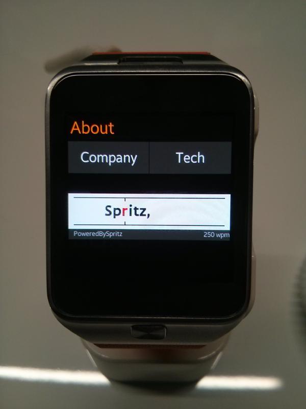 Spritz en un Smartwatch (Samsung Galaxy Gear 2)
