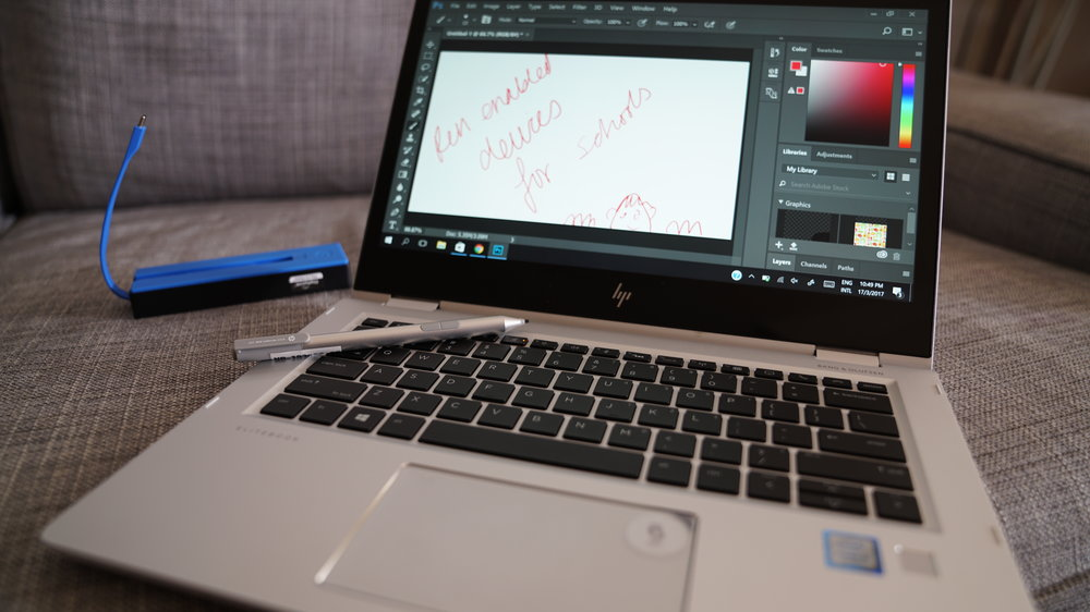 HP EliteBook 2-in-1 Pen enabled Windows 10 with Photoshop and Dock that sorely needs an SD car reader
