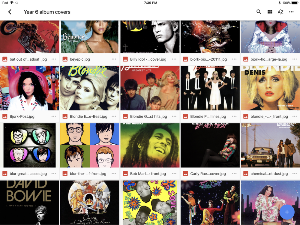 Selection of album covers for students.