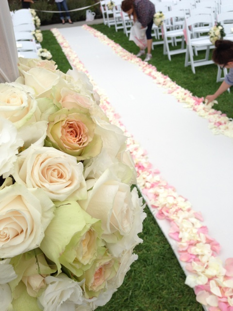 Almost done. Laying down the rose petals.  One hundred roses where used.
