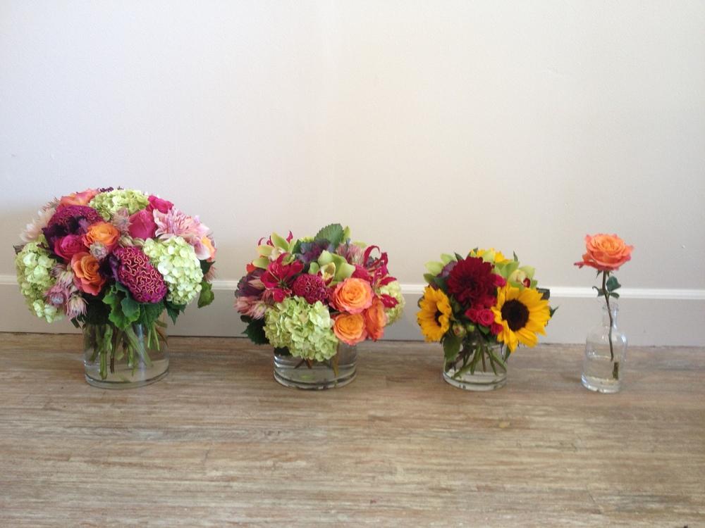 Example of glass vase arrangement sizes