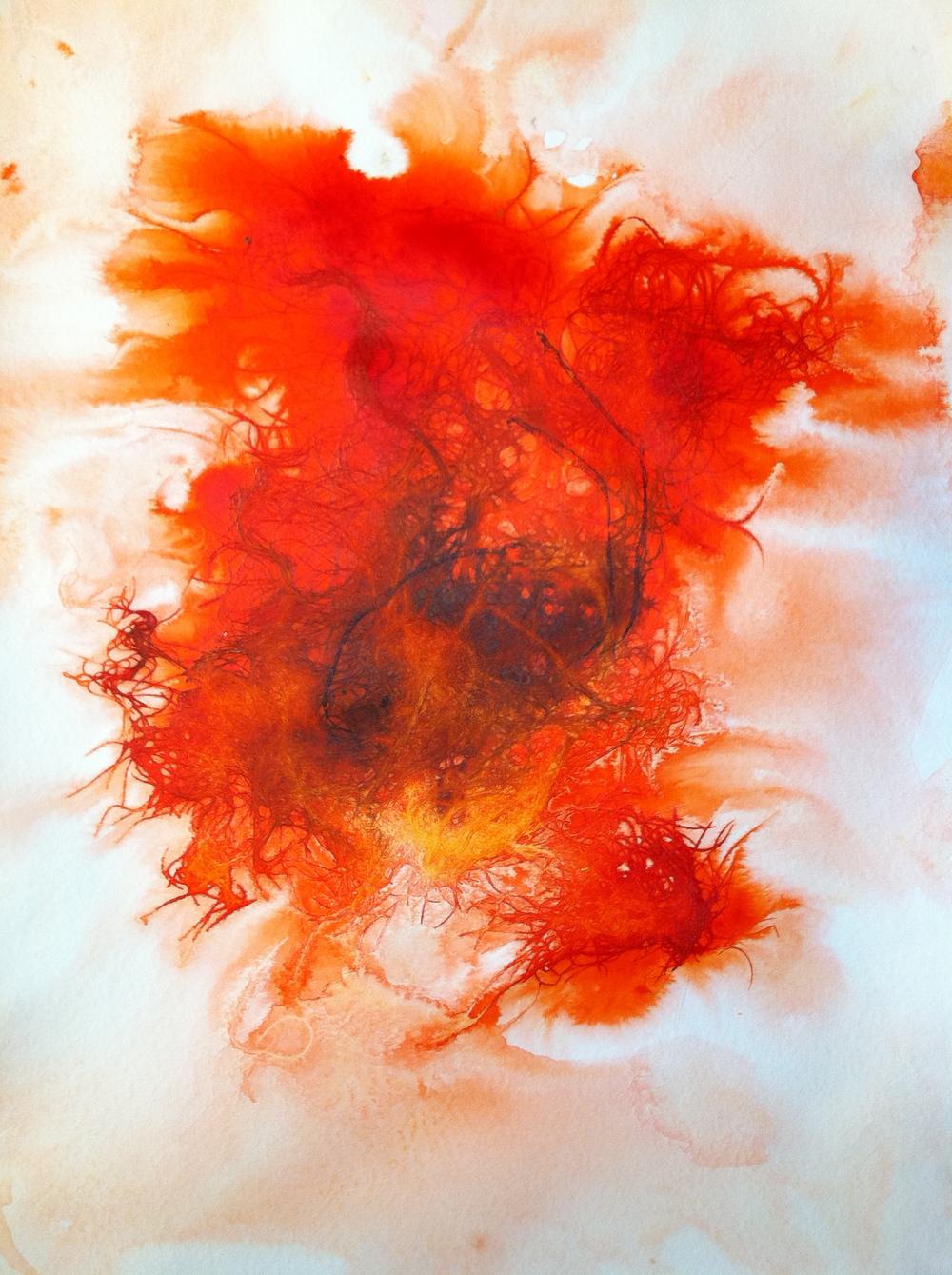 Hair Print (orange three)