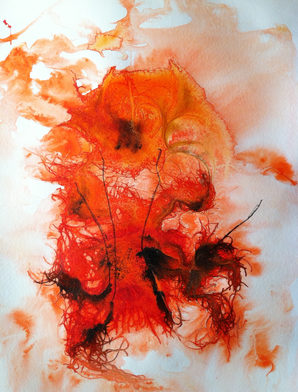 Hair Print (orange four)