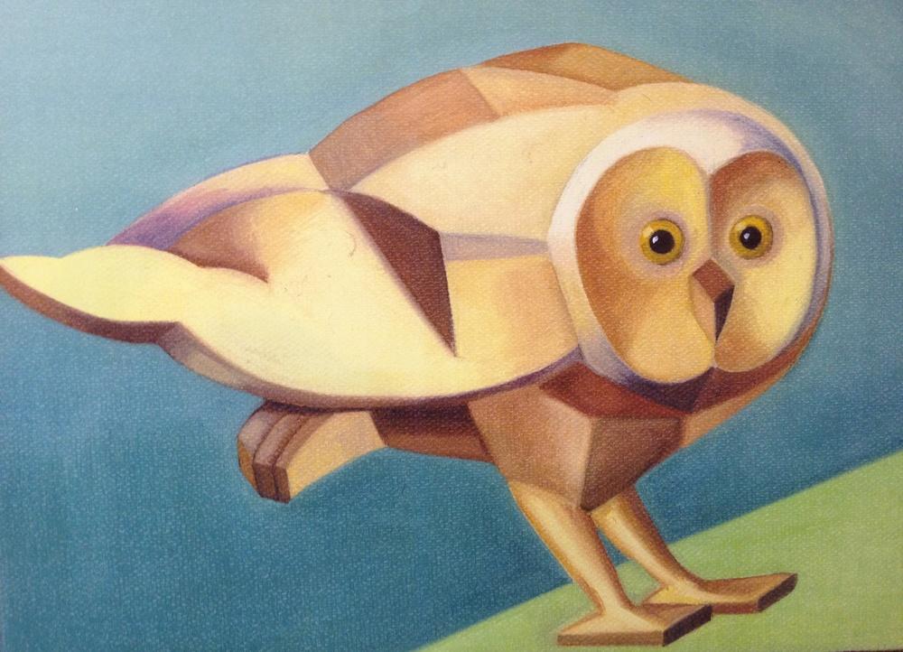 "Barn Owl, o/c, 6""x8"""