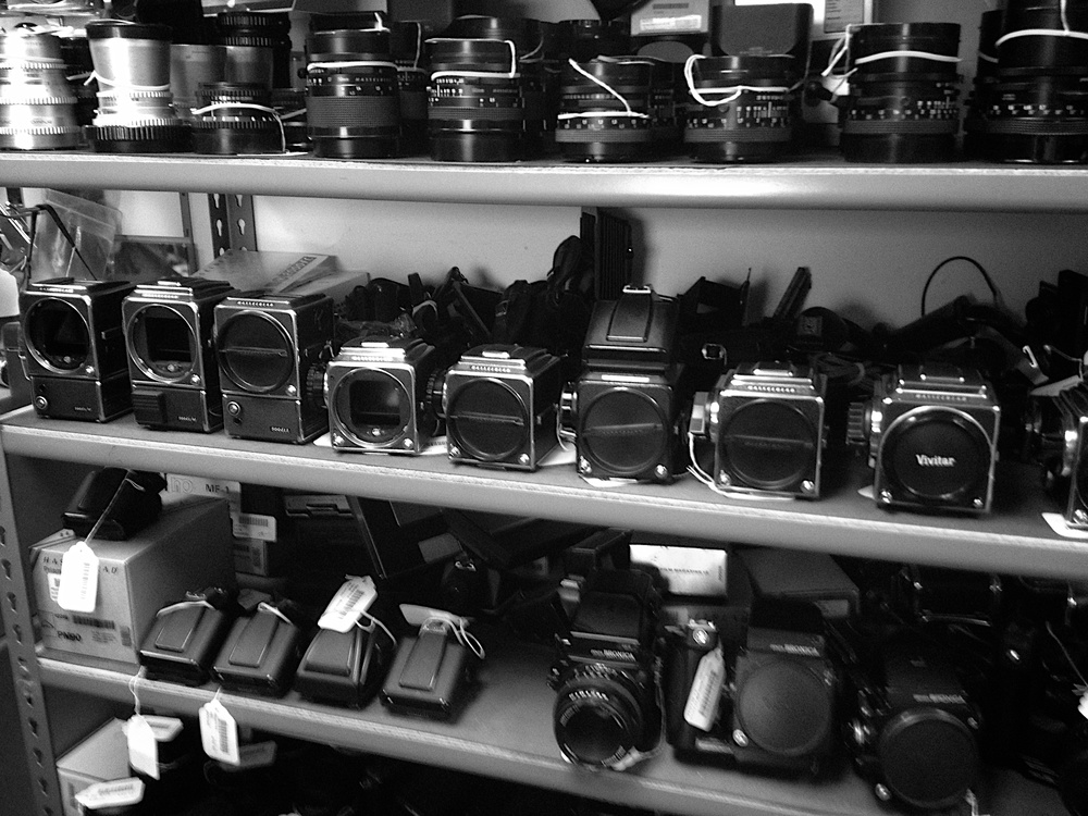 The used Hasselblad shelf at National Camera in Golden Valley, MN.