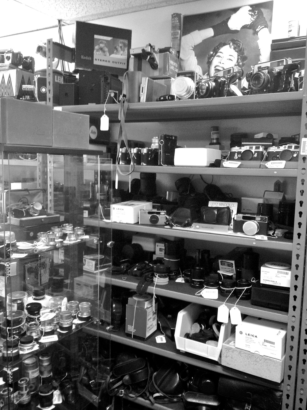 The used Leica shelf at National Camera in Golden Valley, MN.