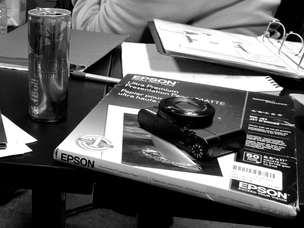 RX100 on a table during a pre-production meeting. Such a handy little tool.