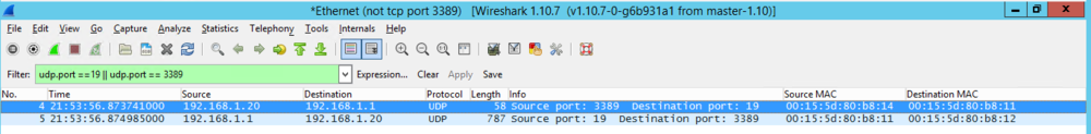 Packet capture from CHARGEN Server