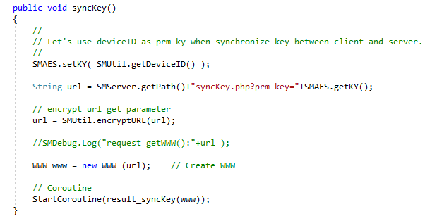The client function syncKey(), used to negotiate a new key with the server, sets the encryption key to the device ID.
