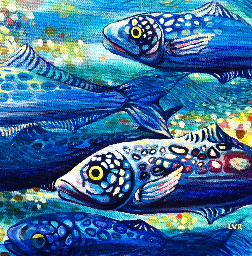 "Oceanic Soiree Clique 3   oil on canvas  8"" x 8""  SOLD"