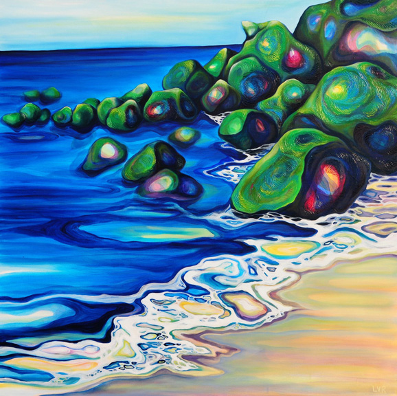 "Captivating Cove   oil on canvas  48""x 48"""