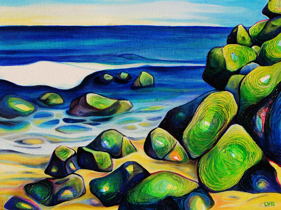 "Secluded Cove   oil on canvas  12"" x 16"""