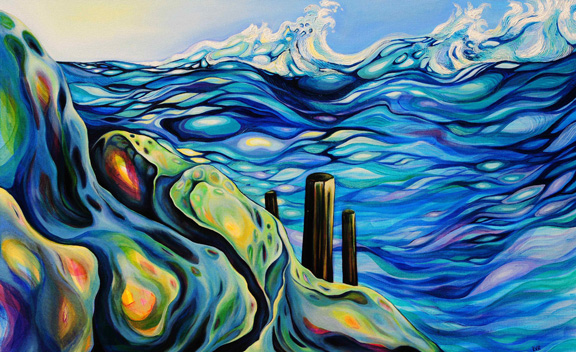 "Swelling Surge    oil on canvas   30"" x 48"""