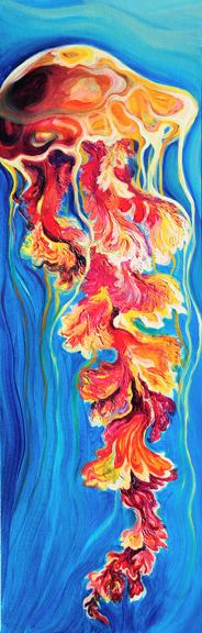 "Fiery Bloom  oil on canvas  36"" x 12""  SOLD"