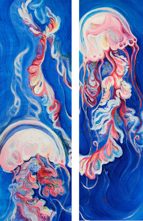 "Luminous Bloom Diptych   oil on canvas  24"" x 16"""