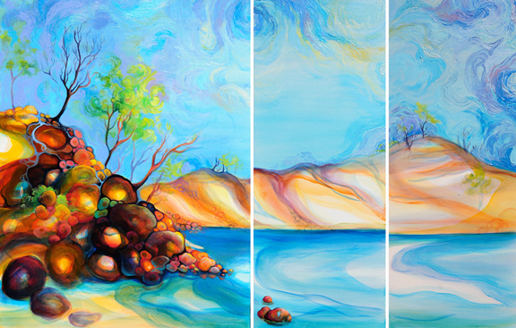 "Pelada Point Nosara oil on canvas 40""x30"", 40""x16"", 40""x16"""