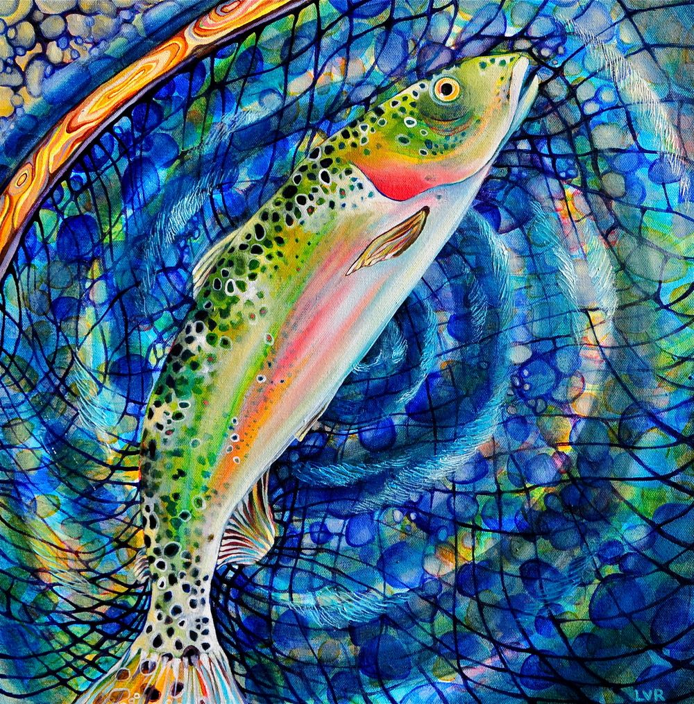 "Rainbow's Release oil on canvas 18"" x 18"""