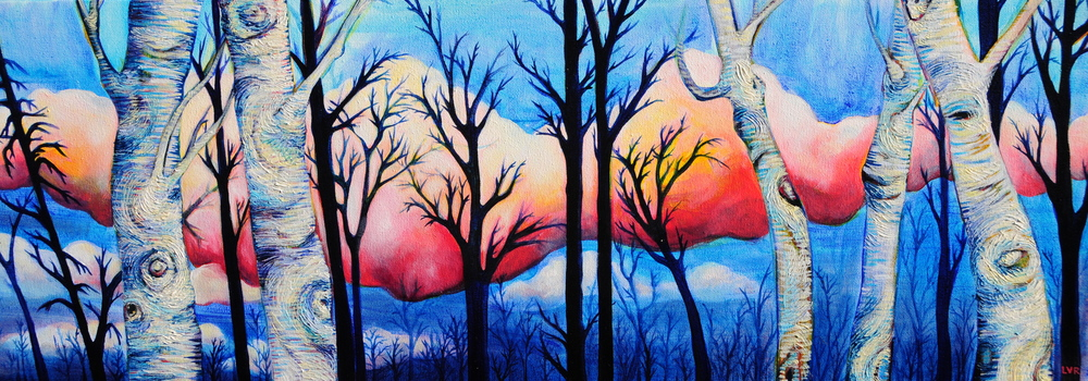 "Brightened Betula 2 oil on canvas 12"" x 36"""