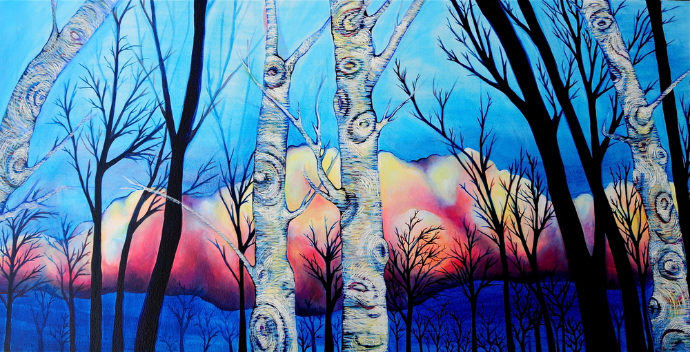 "Brightened Betula  oil on canvas  24""x 48""   SOLD"