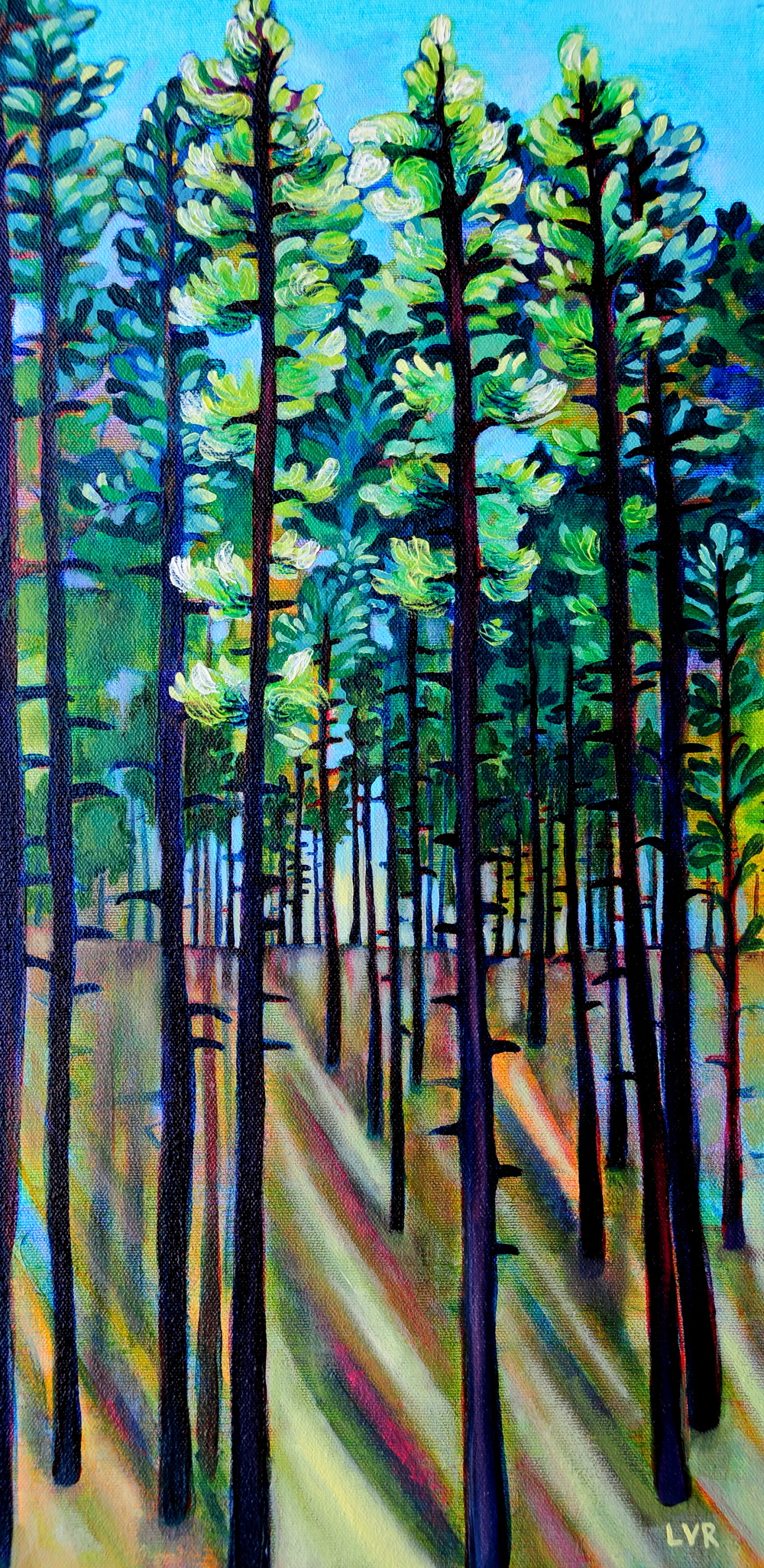 "Beyond the Pines  oil on canvas  20"" x 10"""