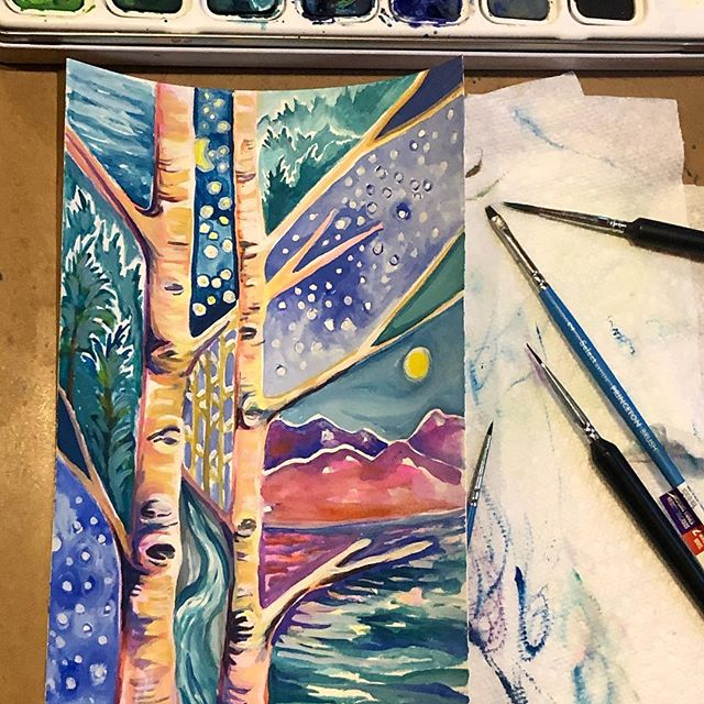 From #onepaintingaday to #paintingeachday! #inspiredbywinter #inspiredbyvermont #madeinvermont #winterbirch #birchtreepainting #birchtree #inspiredbynature #shopetsyhandmade #abstractbirchtrees #goingmoreabstract #peakandbirchdesigns