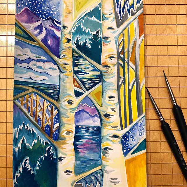 Another abstract birch #inspiredbyvermont #inspiredbywinter #birchtreepainting #madeinvermont #inspiredbynature #gouachepainting #peakandbirchdesigns #lakechamplain #icicles #birches #etsyshop