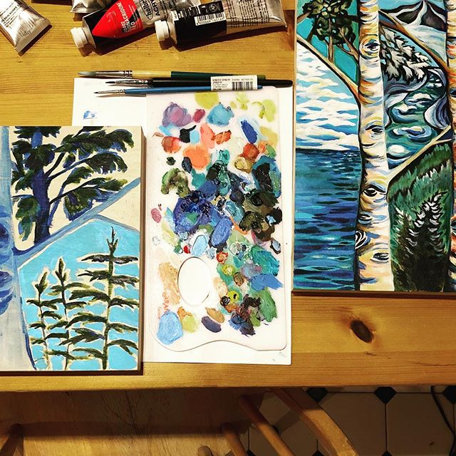 More abstract birches in the works! #inspiredbywinter #winterpaintings #paintingeachday #inspiredbynature #inspiredbyvermont #acrylicpainting #acrylicpaintingonwood #paintonwood #acrylicpaintings #peakandbirchdesigns