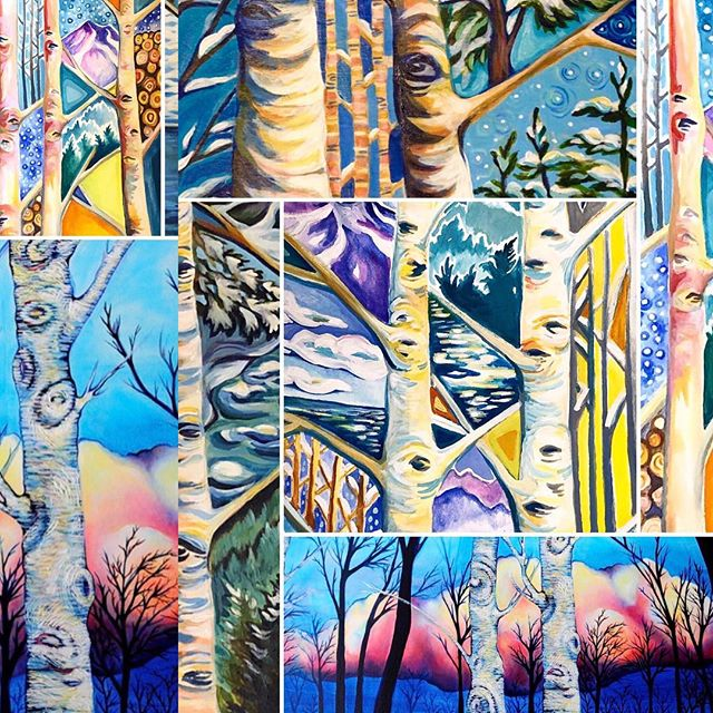 "It's a weekend of birches! Enter our birch card giveaway by commenting on the ""Stand together Birches"" post @peakandbirchdesigns  #standtogether #birchtreepainting #gouachepainting #gouache #acrylicpainting #oilpainting #abstractbirchtrees #birchtrees #inspire #inspiredbynature #standforwhatyoubelievein #supporteachothersdreams #giveaway #standtogetherbirches"