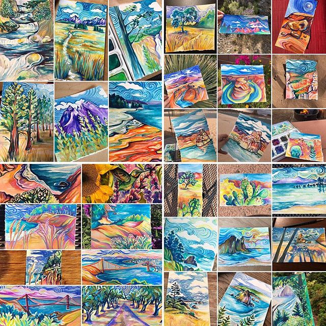 Vanlife painting diary! While on the road this summer I created a diary of paintings. It was a great way to document our journey! Looking at each painting takes me back to when and where they were created. I hope that they transport you too! Where do they take you? Do you recognize any of the locations in the paintings? All paintings and prints of each painting are now available on Etsy http://Etsy.com/shop/peakandbirchdesigns and link in bio. #paintingdiary #diarypainting #vanlifediaries #paintingontheroad #vanlifedreams #vanlifeexplorers #keeptheadventuregoing #newhomeformypainting #inspiredbynature #inspiredbytravel #paintandtravel #travelandpaint #nowavailableonetsy #etsyshop #etsypainting