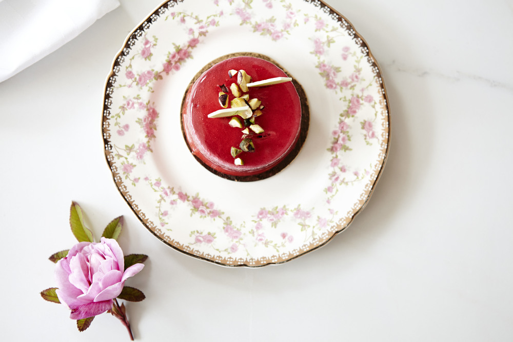 Raspberry Mousse Cake by Le Fournil Bakery in Canmore, AB.Food Photography by Lua Williams. Canmore, AB