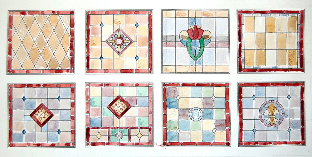 Design colour sketches for a series of residential stained glass panels