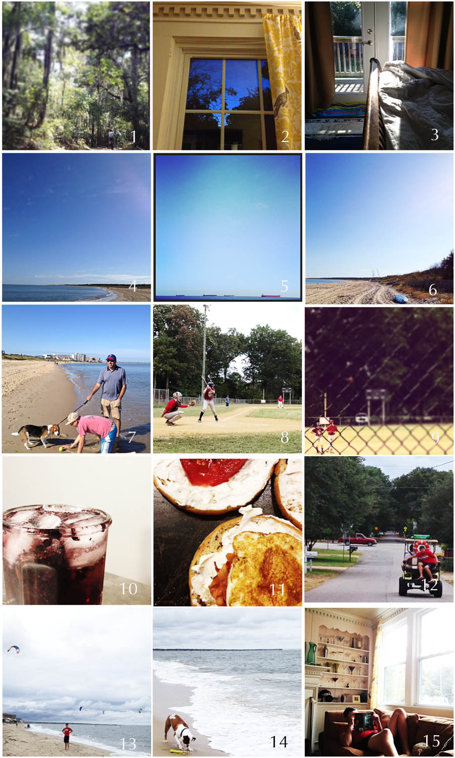 1. Friday hike | 2. Night light | 3. Day light | 4. First Landing | 5. In a row | 6. Autumn at the Beach | 7. Lucy meets the water  | 8. First at bat | 9. Making it matter | 10. Cocktail | 11. Breakfast sandwich | 12. Sweet ride | 13. Cal | 14. Buster | 15. Easy Sunday