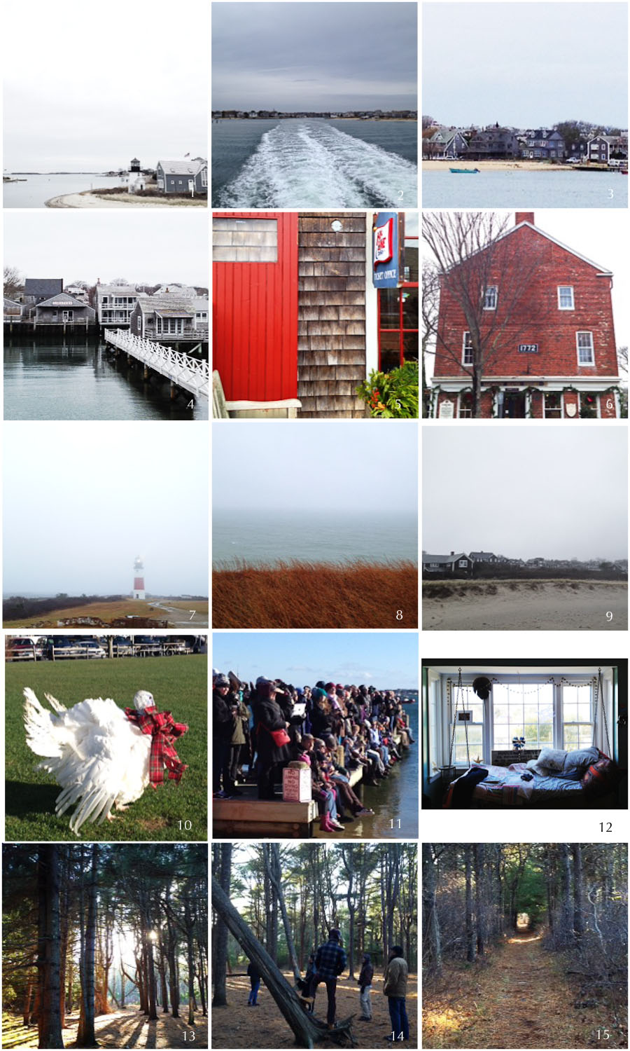 1. leaving hyannis | 2. (almost) open sea | 3. blue boat | 4. arrive | 5. cheery ticket office | 6. rare brick building | 7. sankaty light | 8. fog-shrouded sea | 9. cisco beach | 10. cold turkey plunge | 11. spectators (wise) | 11. cozy nook | 12. state forest | 14. active young men (and Neel!) | 15. long walk