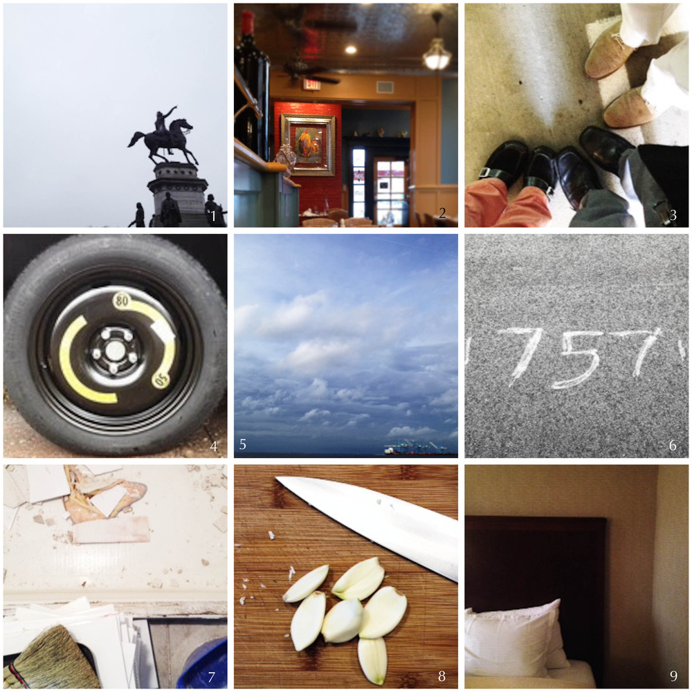 1. George Washington statue outside the VA State Capitol | 2. Blue Talon Bistro, Williamsburg, VA | 3. That's us, together again | 4. Slashed tire, WTH? | 5. Winter storm on the river | 6. Street art, sort of | 7. Neel's in demo mode again | 8. Sunday supper | 9. Back to the capitol