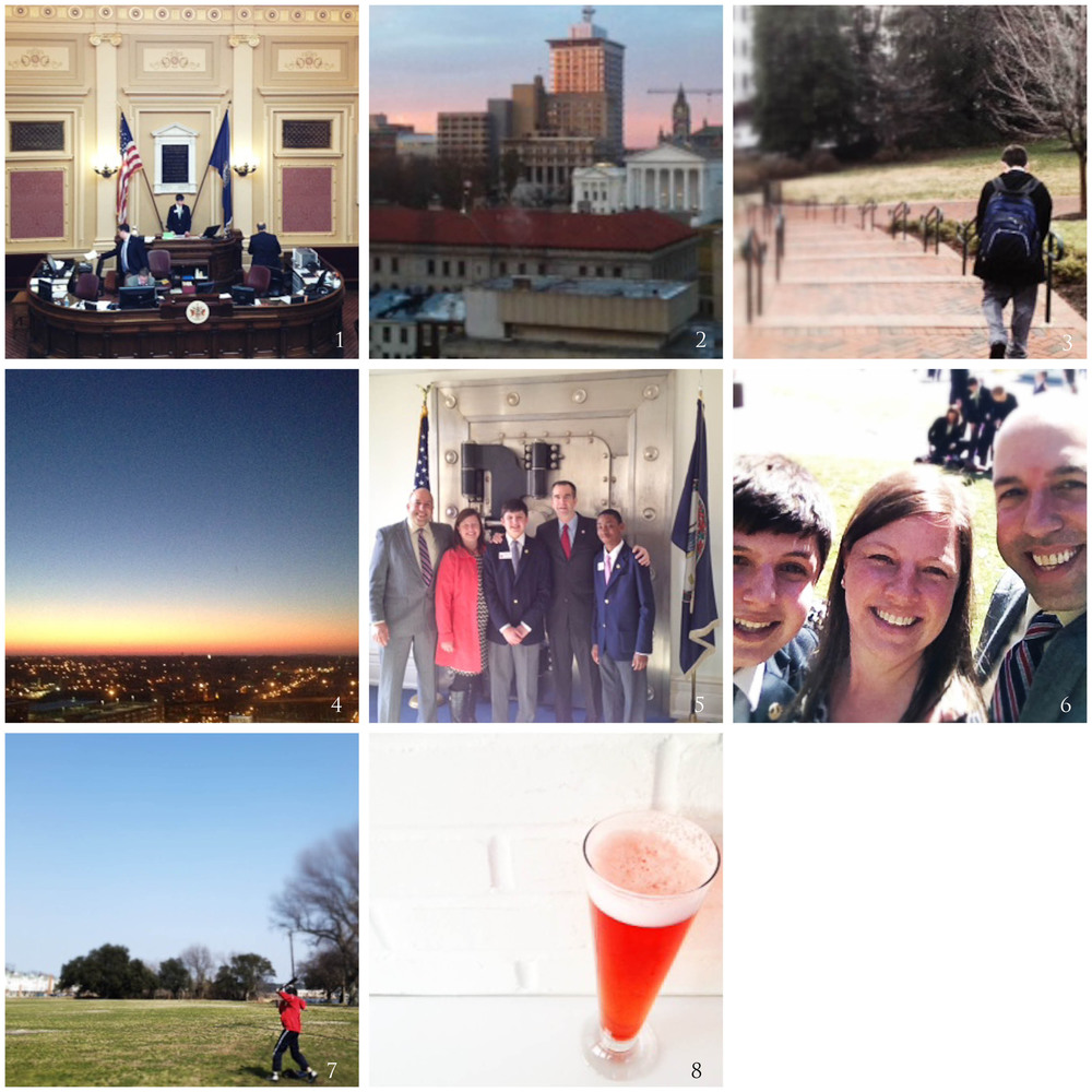 1. Lt. Governor gavels in the Mock Session | 2. Sundown on the Capitol | 3. Last walk to the hotel | 4. Sunrise from our hotel room | 5. Quick visit with the LG | 6. Requisite Awkward Selfie | 7. (Finally) some baseball | | 8. Daylight Savings Shandy