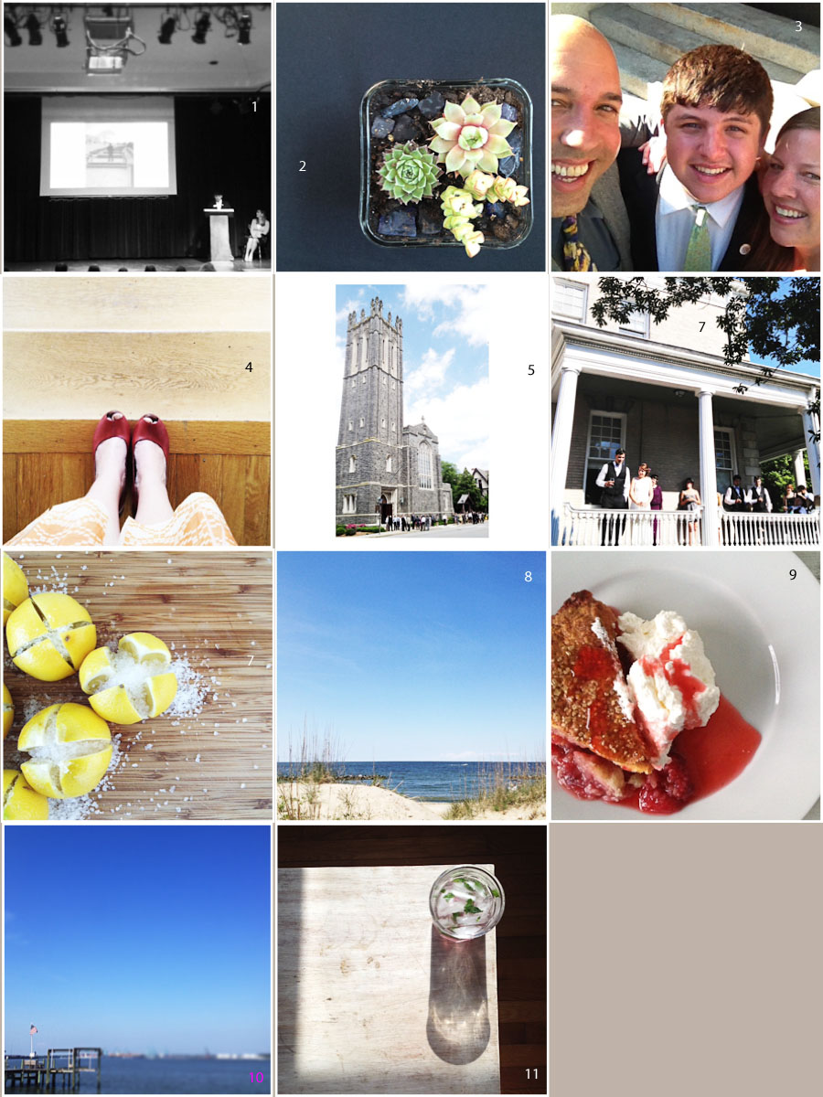 1. speech day | 2. I made this! | 3. celebration dinner | 4. wedding shoes | 5. gorge church | 6. (7?) gorge wedding | 7. preserving lemons | 8. beach day | 9. I made this! | 10. memorial day blue + red | 11. twilight monday night