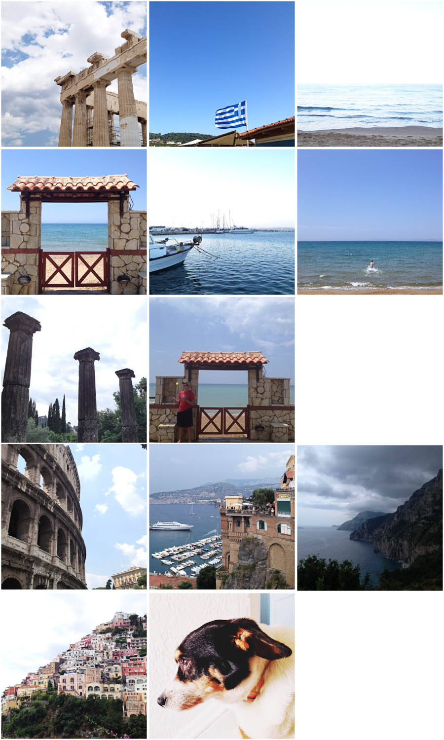 Row 1: Parthenon | Greek flag flying | Ionian Sea; Row 2: Our hotel | Dinner at the port of Katakolon, Greece | Cal swimming; Row 3: Olympia | Cal; Row 4: Colosseum | Sorrento | Amalfi Coast; Row 5: Positano | Sweet Violet